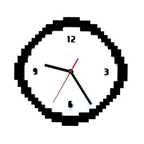 Gzgj Pixel Time Clock Estilo De 8 Bits Retro Pixel Reloj De Pared Blanco Y Negro Jaggy Pixels Pixellated Analógico Decoración Del Hogar Regalo Para