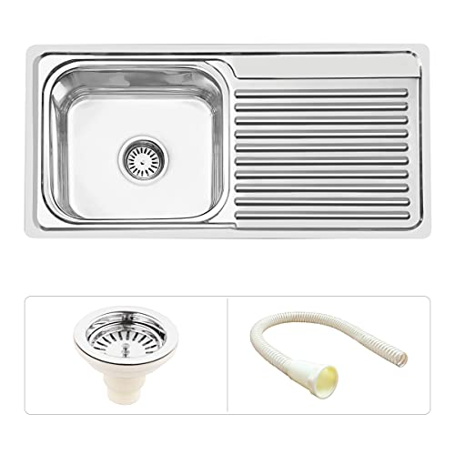 Ruhe Premium Stainless Steel Single Board Square with Drain Board Kitchen Sink 37x18x8 Inches (Glossy Finish).