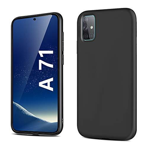 Für Samsung A71 Hülle, Mattierte Anti-Fingerabdrücke Schwarz TPU für Samsung Galaxy A71 Handyhülle Schutzhülle, Weiche TPU Ganzkörperhülle, Stoßfest Handyhülle Kompatibel mit Samsung A71 - Schwarz