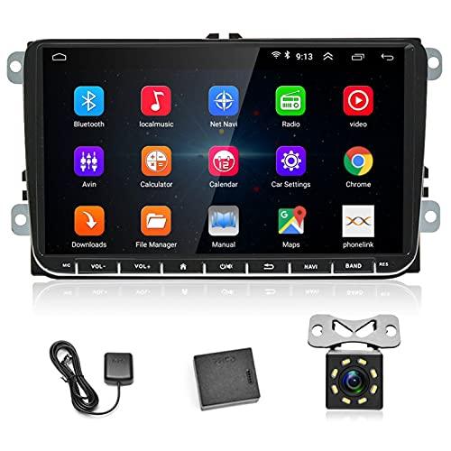 Radio 2 DIN Android para VW, Radio Coche Bluetooth con 9    Pantalla Táctil de Alta Definición, Estéreo de Coche GPS para VW Passat Golf MK5 MK6 Jetta T5 EOS Polo + Cámara de Marcha Atrás de 8 LED