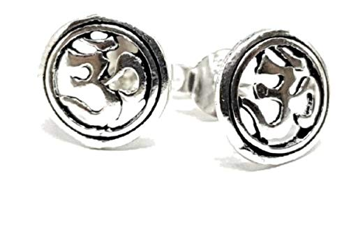 TANAMI Jewellery Supplies for Earring Om Aum Sterling Silver 925 Hindu Reiki Yoga Buddhist Round Studs Boxed Great for DIY Jewelry Gift for Women Girls