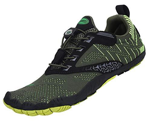 SAGUARO Zehenschuhe Unisex Barfußschuhe Atmungsaktive Traillaufschuhe rutschfeste Laufschuhe,05 Grün,45