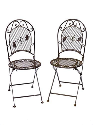 aubaho De Jardin 2X par 9 kg Chaise en Fer forgé Chaise Pliante Brun Style Antique