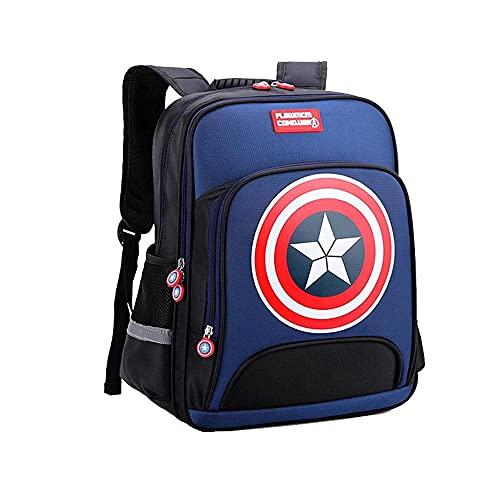 STZYY Mochila para niños con el Escudo del Capitán América, Mochila para niños de Primaria Mochilas Escolares Mochila para Adolescentes y Estudiantes Dayback Impermeable Adecuado: Grados 3-6 (altu
