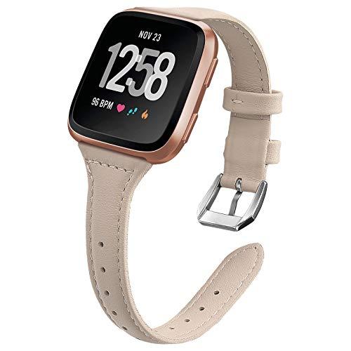 Ezco - Cinturino di ricambio per Fitbit Versa 2, cinturino Versa Lite, cinturino in pelle di ricambio per donne e uomini (Apricot)