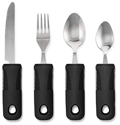 Adaptive Utensils (4-Piece Kitchen Set) Wide, Non-Weighted, Non-Slip Handles for Hand Tremors, Arthritis, Parkinson's or Elderly use   Stainless Steel Knife, Fork, Spoons (Black - 1 Set)