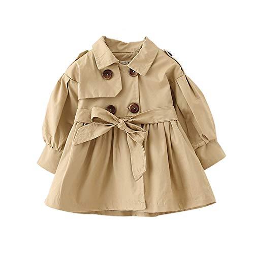 Autumn Baby Girl Coat with Belt 1-3 Years Baby Girls Coats Long Jackets Outerwear Kids Overcoat Khaki 18M