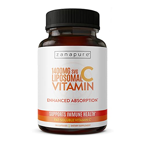 Zanapure - Pure Liposomal Vitamin C Supplement - Immune Booster, Cardiovascular Support, Anti-Aging Support, Skin Health - 180 Vegan Capsules for Men & Women