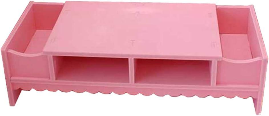 YARNOW Creative Computer Monitor Shelf, Multifunctional Desktop Screen Riser Shelf, Monitor Stand Holder for Home Office (Pink)