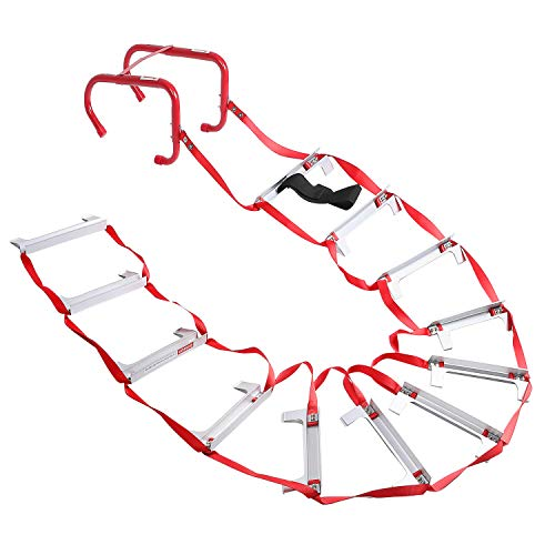 2 Story Fire Escape Ladder with Anti-Slip Rungs, Emergency Escape Ladder Portable Safety Ladder, 15 Ft