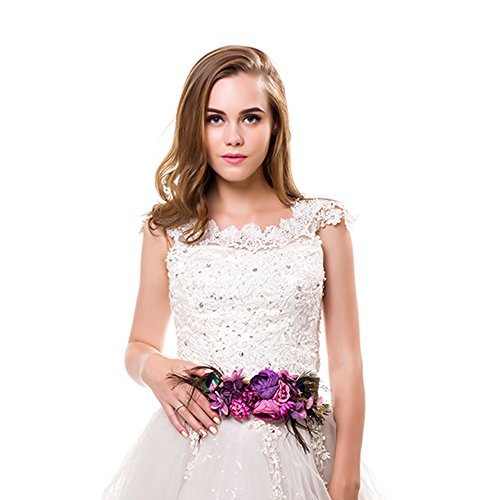 Ever Fairy moda flor cinturones para mujer niña dama de honor vestido de satén...
