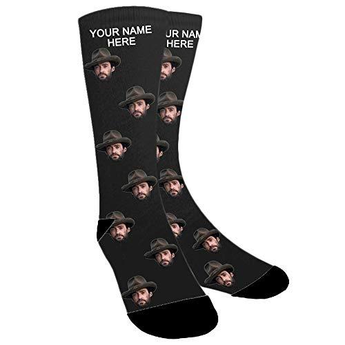 ABIsedrin Calcetines personalizados, calcetines divertidos con foto, regalo del día del padre, cumpleaños, día de Navidad (Negro)