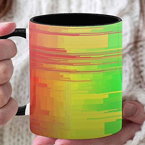 Taza de cerámica de 11 oz Colores Chakras del arco iris Textura de estilo Taza de café creativa Tazas de café personalizadas utilizadas para café Té caliente Beber Interior negro con asa