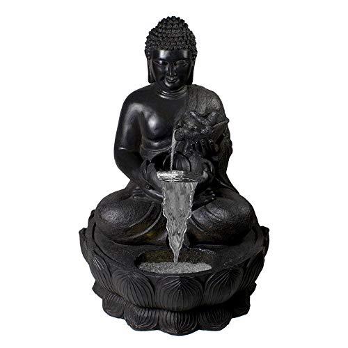 Northlight 31.5' Black Buddha in a Flower Outdoor Garden Water Fountain
