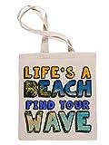 Life is A Beach Find Your Wave Bolsa Fe Compras Reutilizable Reusable Tote Shopping Bag