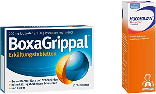 Sparset Erkältung Boxa Grippal 20 Filmtabletten & Mucosolvan 30 mg pro 5 ml 250 ml 1 Set