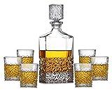 Whisky Decanter Decanter per vino Whisky Decanter Occhiali Set 7 pezzi 100% bicchiere di vetro cristallo con copertura in vetro Bottiglia di vino 850ml per i ristoranti e le feste domestiche Ideale co