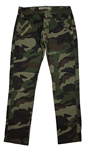 Unbekannt Tolle Mädchen Army Tarnhose, Camouflage Muster in Grün Camouflage, Gr 128/134, M8153.10