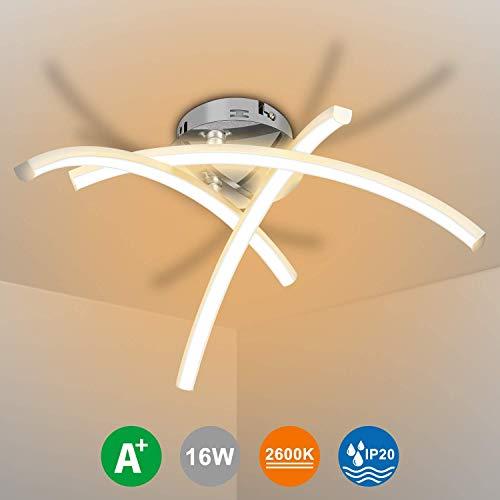 LEDMO LED Deckenleuchte 2700K Warmweiß,Modern Design Deckenlampe IP20 Wasserdicht 230V,Wandleuchte Led 16W,Led Wohnzimmerlampe 36 * 36.5 * 18.5CM,Nickel matt & Chrom Deckenstrahler Strahler