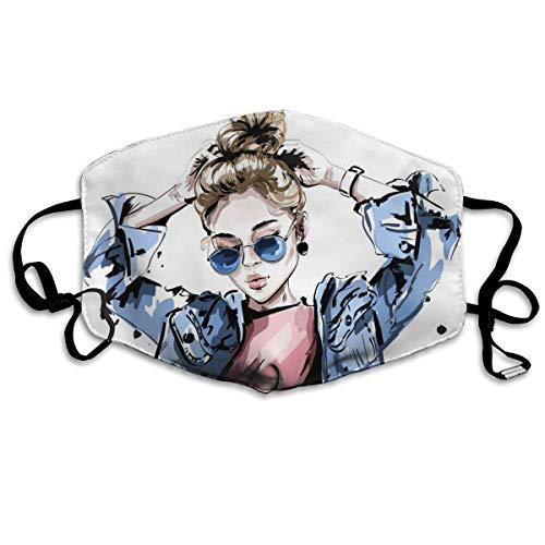 My Style Damen-Jeans-Jacken und Sonnenbrille, waschbar, wiederverwendbar, atmungsaktiv, 10,9 cm, verstellbare Ohrringe zum Laufen