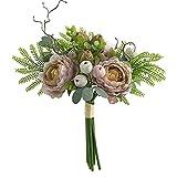 Sanfiyya Falso Artificial Ramo de Flores de Seda de la Flor del Peony la Tabla Decorativa centros de Mesa para Shallow Fiesta de la Boda de Brown