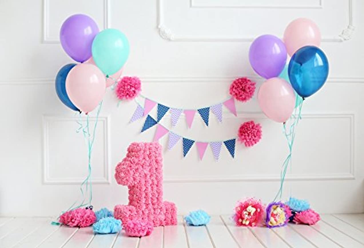 Leyiyi 7x5ft Photography Backdrop Kids Happy Birthday Background 1st B Day Banner Checkered Flag Paper Flowers Ballons Room Interior Cake Table Lay Flat Baby Shower Photo Portrait Vinyl Studio Prop