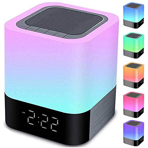 Night Lights Bluetooth Speaker, Alarm Clock Bluetooth Speaker Touch...