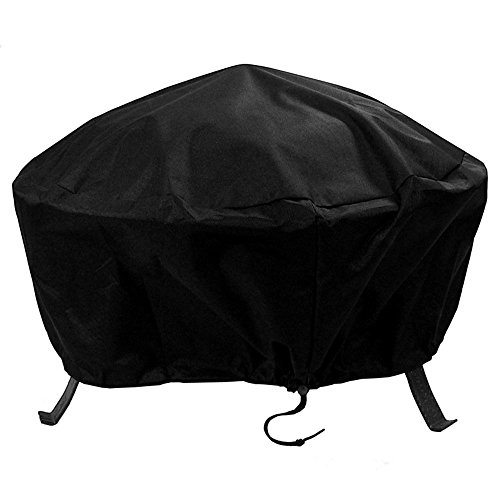 Sunnydaze Outdoor Round Fire Pit Cover with Drawstring and Toggle Closure - Heavy Duty Weather-Resistant Black 300D Polyester and PVC - 30 Inch Diameter Protective Fire Pit Accessory