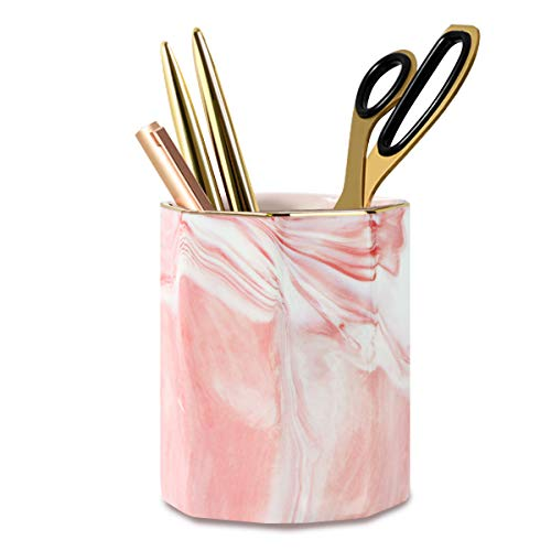 WAVEYU Pen Holder for Girls, Stand for Desk Marble Pattern Pencil Cup for Kids Durable Ceramic Desk Organizer Makeup Brush Holder Ideal Gift for Daily Use in Office, Classroom, Home, Pink Marble
