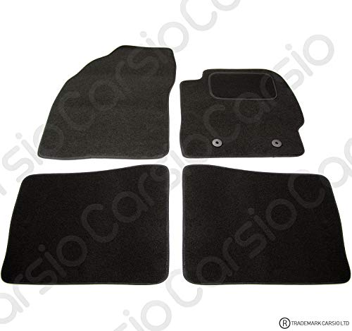 Carsio Tailored Black Carpet Car Mats for Prius 2009 to 2012-4 Piece Set With 2 Clips