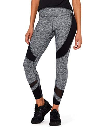 Amazon Brand - AURIQUE Women's Panelled Sports Leggings, Grey (Charcoal Marl), 16,...