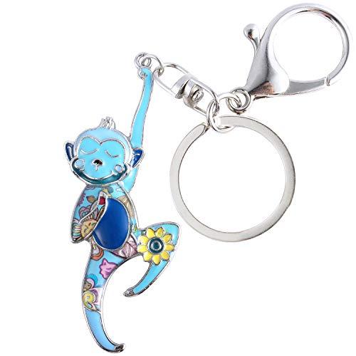 Luckeyui Cute Monkey Gift Keychains for Women Blue Enamel Monkey Lover Keyring