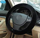 NIKAVI Plush Stretch-On Vehicle Steering Wheel Cover, Classic Car Wheel Productor (Black)