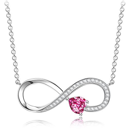Sellot Kette Damen Halskette Infinity Herzkette Geschenke für Frauen 925 Sterling Silber Kette Damen Anhänger Rosa Kristalle Mädchen Schmuck Silberkette Geburtstagsgeschenk für Frauen Freundin Ehefrau