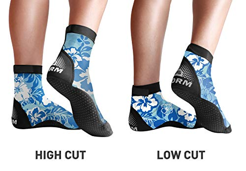 BPS 'Storm' Lycra Water Socks - Non Slip Socks - for Sand Playing, Outdoor Activities, Paddleboarding, Sand Walking, Scuba Diving, Beach Soccer - High-Cut Socks (Blue Floral, Small)