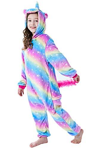 Re-MissErwachsene Unisex Einhorn Tiger Lion Fox Onesie Tier Schlafanzug Cosplay Pyjamas Halloween Karneval Kostüm Loungewear, Mehrfarbig Unicorn Sky-star, M passt Höhe 155-165cm