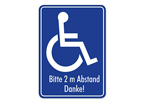 Aufkleber Rollstuhl-Fahrer Hinweis Schild Bitte 2m Abstand halten Autoaufkleber Waschstrassenfest UV-Beständig