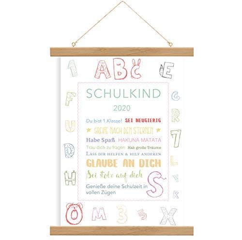 Einschulung Geschenk, Einschulung Poster, Mädchen, Junge, Print, A4 Poster Schulkind, ohne Rahmen