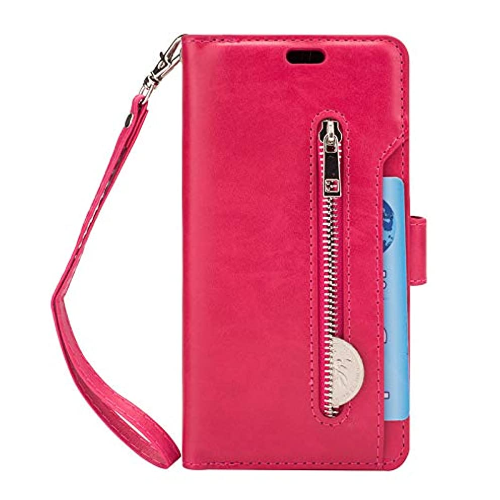 安心させる死味付けケース Galaxy S9 手帳型、SIMPLE DO 分離可能 カード収納 スタンド機能 二つ折り 軽量 持ち運び便利 耐衝撃 レディース 女子 人気 おしゃれ 通勤(ホットピンク)