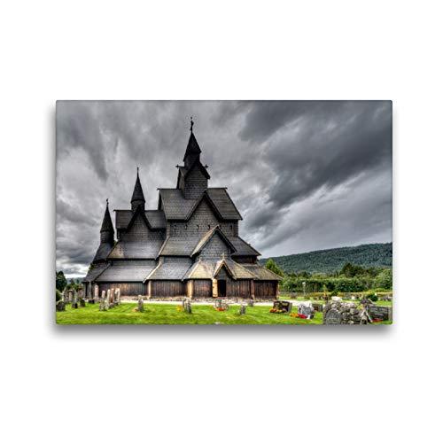 CALVENDO Premium Textil-Leinwand 45 x 30 cm Quer-Format Heddal Stabkirche, Leinwanddruck von Dirk Rosin