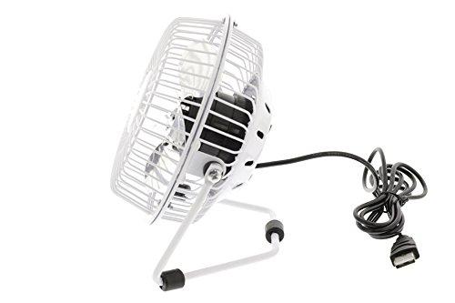 5 Stück - Eurosell Retro Designer Metall Mini Ventilator Tisch Tischventilator weiß - USB Stromversorgung - Mobil - Büro Camper Camping