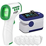 DR VAKU® 3in1 Combo Fingertips Pulse Oximeter, Non-Contact Infrared Digital Forehead Thermometer with Lcd Display, 5x KN95 Plain Face Mask
