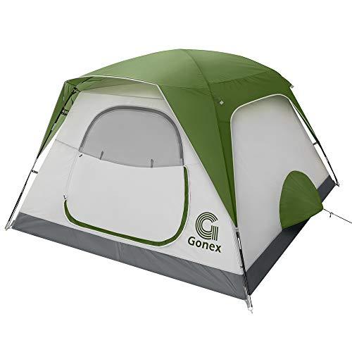 Gonex Camping Zelt, 4 Personen Leicht Wasserdicht Sofortiges Aufstellen Familie Kuppelzelt, Doppelwandig Tragbares Dome Zelt Kleinem Packmaß, 4 Saison für Outdoor Trekking Wandern Festival Rucksack