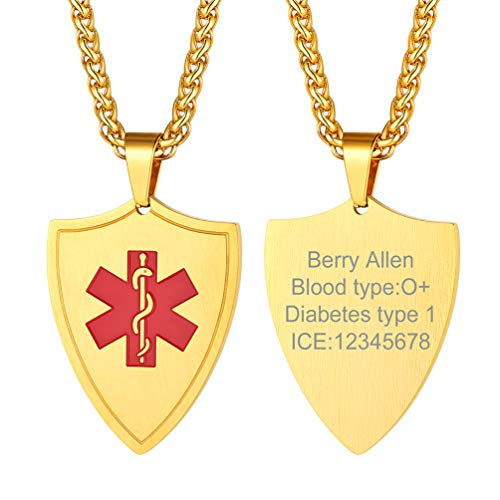 PROSTEEL Medical Alert ID Necklace Men Women Personalized Custom Engrave Dementia Diabetic Emergency Contact Gold Stainless Steel Engraved Shield Pendant Necklace