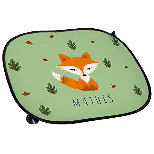 Auto-Sonnenschutz mit Namen Mathis und schönem Motiv mit Aquarell-Fuchs für Jungen | Auto-Blendschutz | Sonnenblende | Sichtschutz