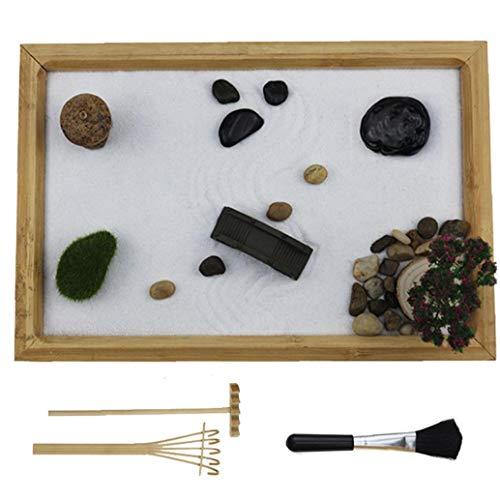 Nicetruc Zen Garden Kit Zen Garden Arena Moss Stones Pabellón de Las Rocas de Mesa Jardín de Piedras Meditar Estatua Decoración meditación Regalo Relax