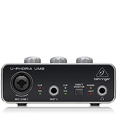 """BEHRINGER Audio Interface, 1x XLR/TRS 1x 1/4"""" 2X RCA USB, Black, 1-Channel (UM2) from Behringer"""
