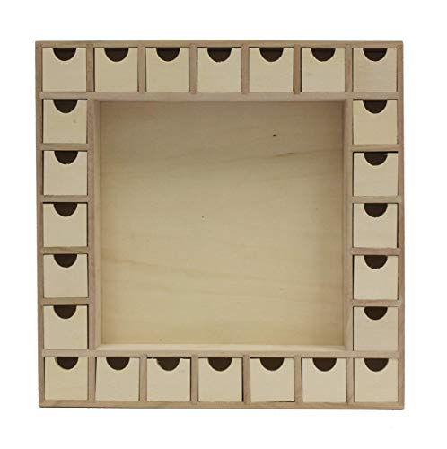 Woodpeckers Wooden Advent Calendar Empty DIY-Pre Assembled Empty Drawers Refillable Unfinished 13 Inch by 13 Inch