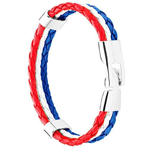 Piersando Armband Armreif geflochten Leder Fahne Motiv Fussball EM & WM Fanartikel Land Flagge Ärmel Schmuck Damen oder Herren Niederlande 21cm