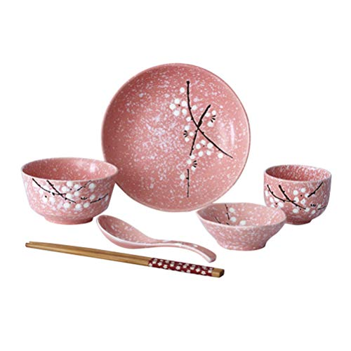 HEMOTON 6Pcs Japanisches Geschirrset Keramikplatten Schalen Löffel Essstäbchen Tassen Chinesisches Keramikgeschirr für Salat Soba Pho Asiatische Nudeln